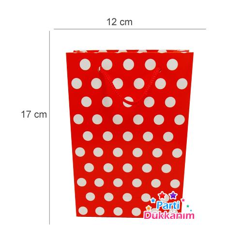 Kırmızı Puantiyeli Karton Çanta 25 adet, fiyatı