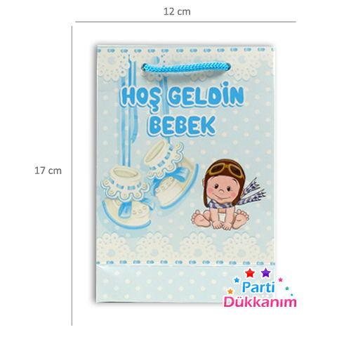 Karton Çanta Hoşgeldin Bebek Mavi 25 adet, fiyatı