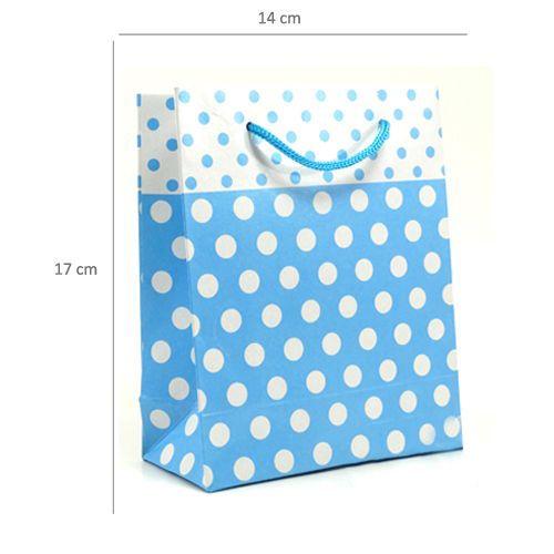 Karton Çanta Mavi Beyaz Puantiyeli 25 adet, fiyatı