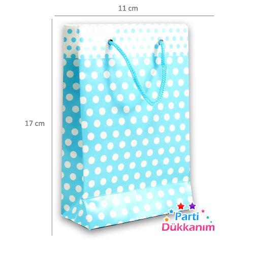 Mavi Beyaz Puanlı Karton Çanta (11*17 cm)