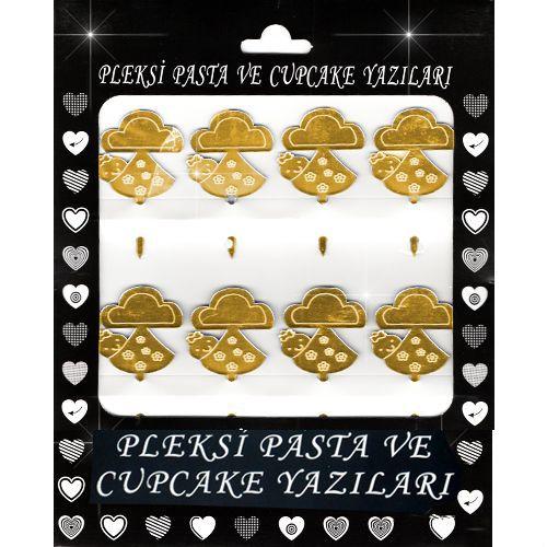 Bebek Pusetli Pleksi Pasta/Kek Süsü (6.5x3.5 cm), fiyatı