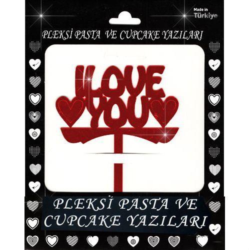 İ Love You Pleksi Pasta Süsü (13x12 cm), fiyatı