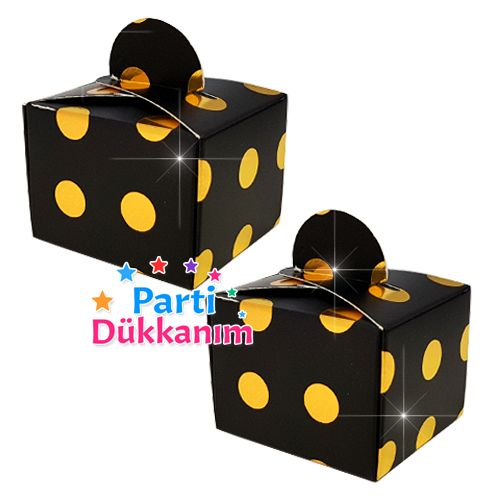 Siyah Üzeri Gold Puanlı Lokum Kutusu (50 adet)