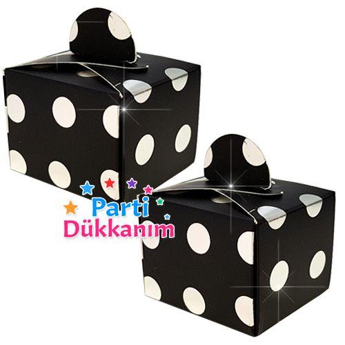 Siyah Üzeri Gümüş Puanlı Lokum Kutusu (50 adet), fiyatı