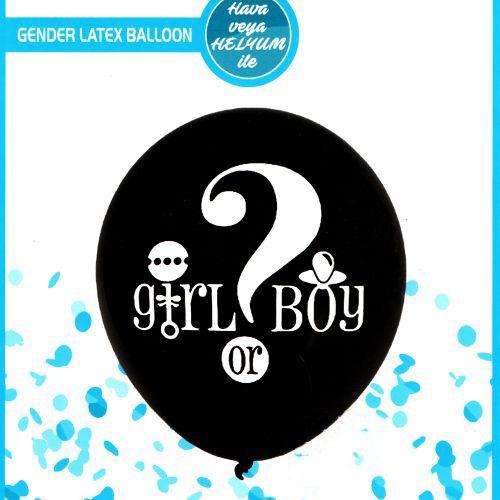 Cinsiyet Belirleme Partisi Balonu Siyah 91 cm, fiyatı
