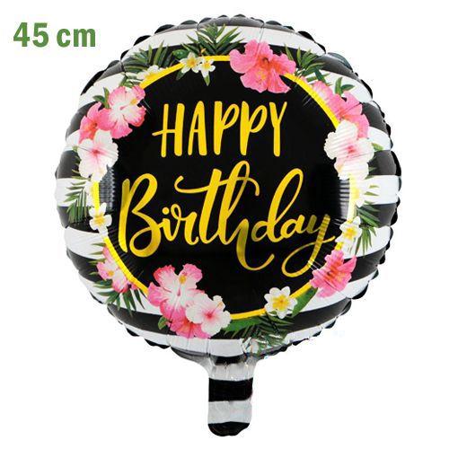 Happy Birthday Folyo Balon Yaprak ve Çiçekli (45 cm), fiyatı