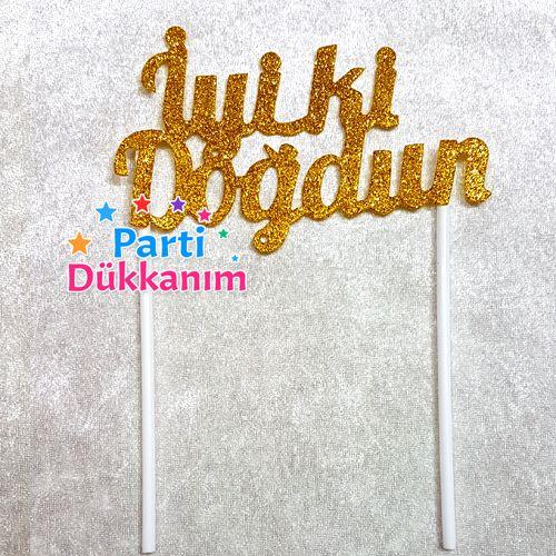İyi Ki Doğdun Simli Eva Pasta Süsü Gold (18x15 cm), fiyatı