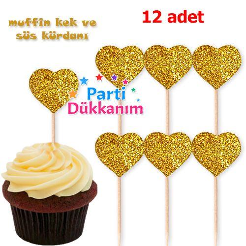 Kalp Simli Eva Kürdan Süs Gold (12 adet)