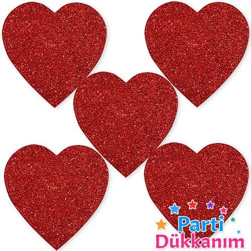 Simli Eva Kalp Süs Kırmızı (5 Adet)