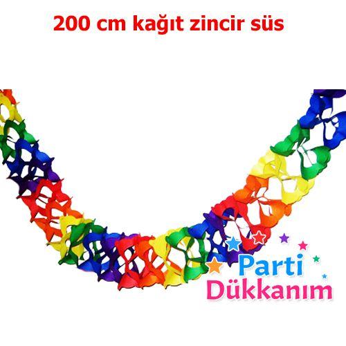 Zincir Kağıt Süs Renkli (200 cm)