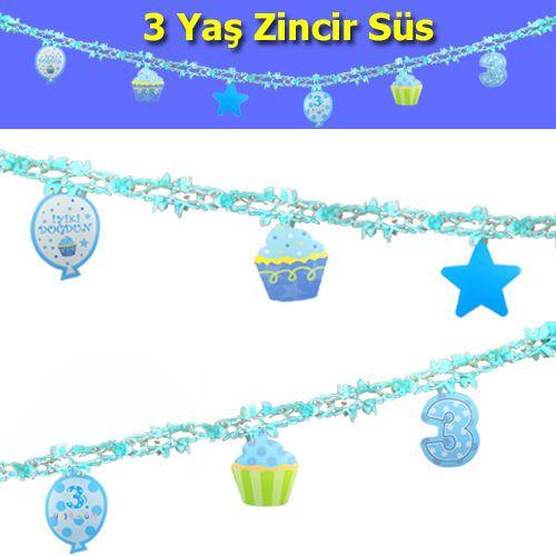 3 Yaş Zincir Süs Mavi (3 m)