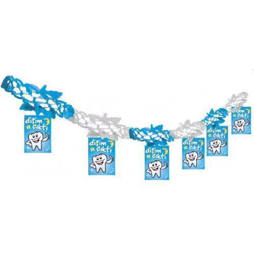 Diş Buğdayı Mavi Kağıt Zincir Süs (3 mt)