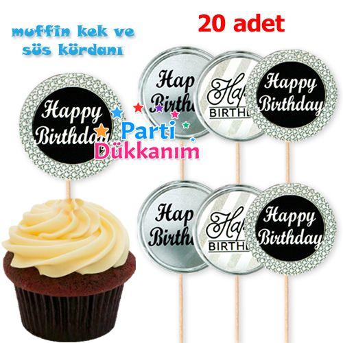 Happy Birthday Kürdan Gri (20 adet), fiyatı