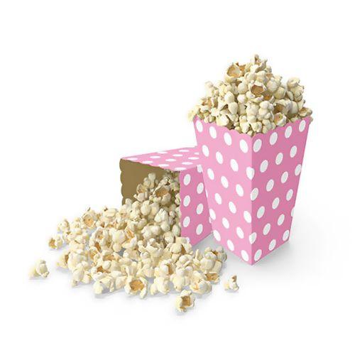 Popcorn Kutusu Pembe Puantiyeli (10 adet)