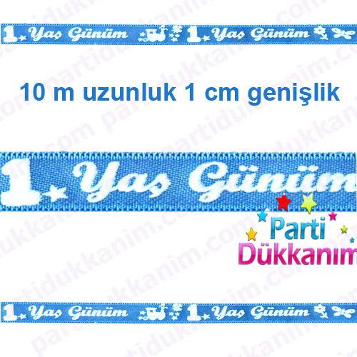 1 Yaş Saten Kurdele Mavi (10 metre)