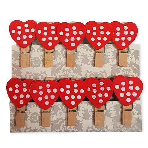 Kırmızı Kalpli Ahşap Mandal (10 Adet), fiyatı