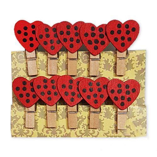 Kırmızı Üzeri Siyah Puantiyeli Kalpli Ahşap Mandal (10 Adet), fiyatı
