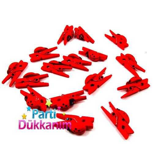 Uğur Böceği Ahşap Mandal Küçük Boy Kırmızı (16 Adet)