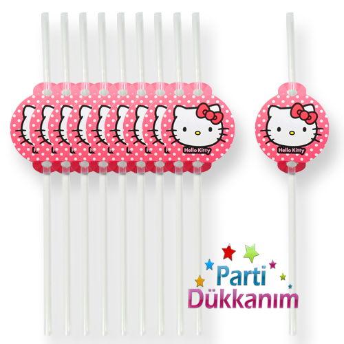 Hello Kitty Körüklü Pipet (10 Adet), fiyatı