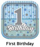Pırıltılı First Birthday Mavi 1 Yaş Doğum Günü Parti Malzemeleri