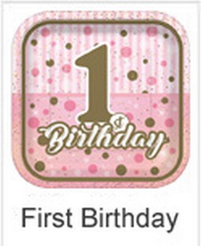 Pırıltılı First Birthday Pembe 1 Yaş Doğum Günü Parti Malzemeleri