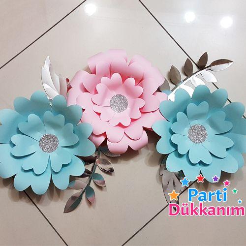 mavi pembe kağıt çiçek