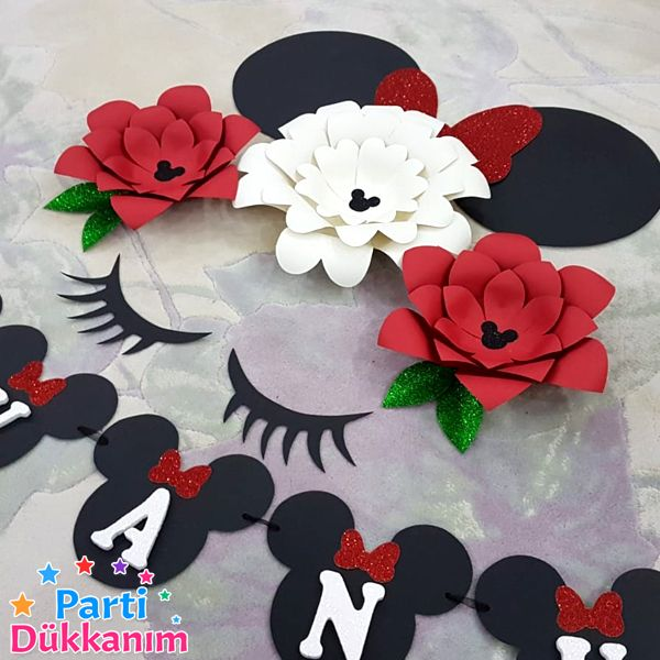 mini mouse kağıt çiçek seti