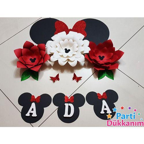 mini mouse kağıt çiçek dekor seti kırmızı