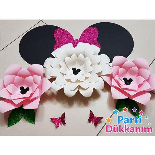 mini mouse kağıt çiçek