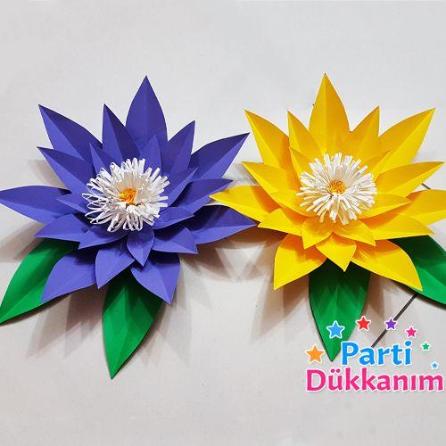 açık sarı mor kağıt çiçek