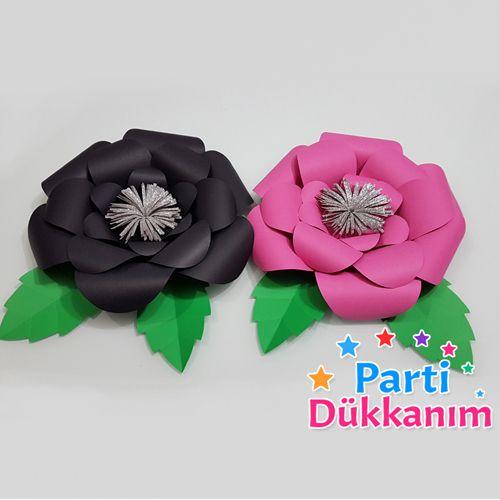 fuşya siyah kağıt çiçek