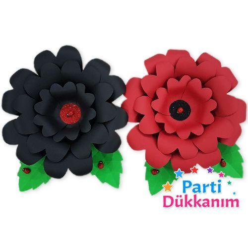 siyah kırmızı kağıt çiçek süs