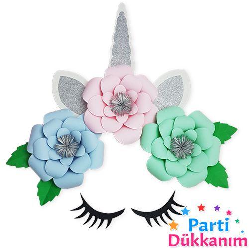 unicorn kağıt çiçek set