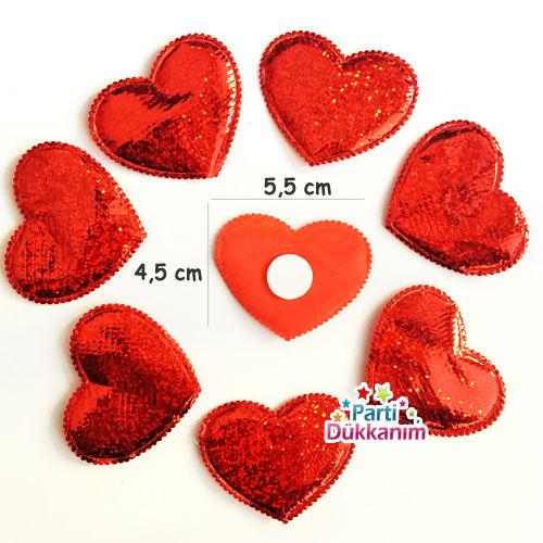 Kalp Şekilli Hologramlı Parlak Sticker Kumaş