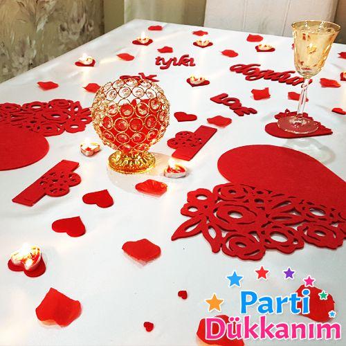 eşe romantik masa süsleme seti