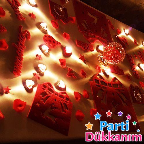 Sevgiliye Sürpriz Yılbaşı Romantik Masa Hazırlama Seti Keçeden