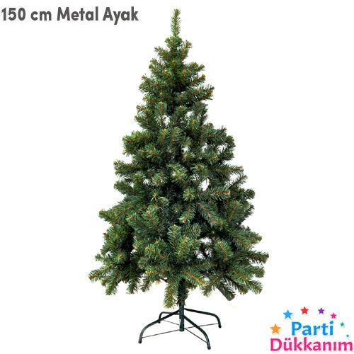 Yılbaşı çam Ağacı 150 Cm Metal Ayaklı Kutulu Yoğun Dallı
