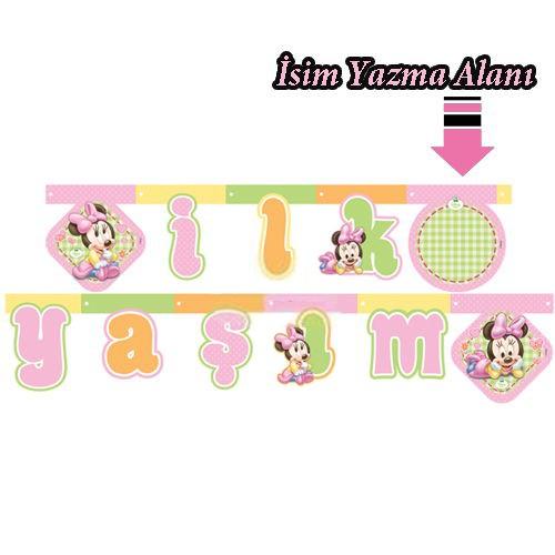 1 Yaş Baby Minnie Mouse ilk yaşım yazısı