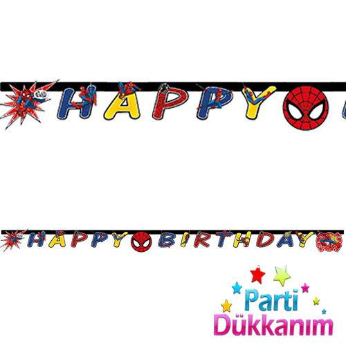 Spiderman power happy birthday yazısı
