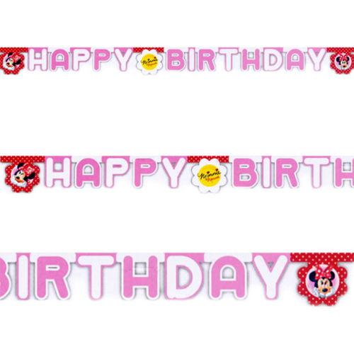 Minnie Mouse happy birthday yazısı