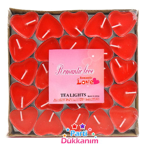 Kırmızı kalpli Telight Mum 100 adet