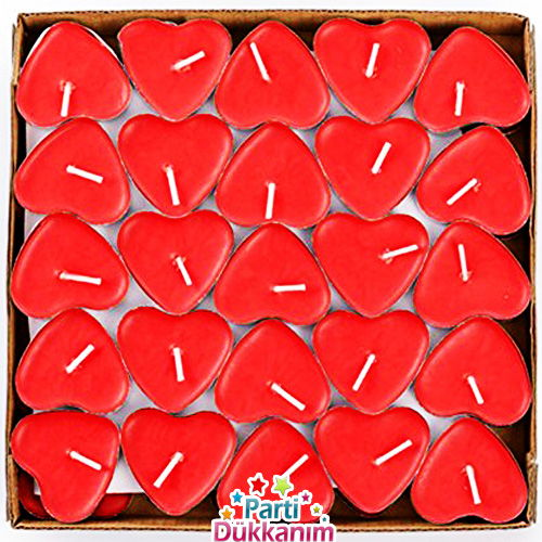 Kırmızı Kalp Şeklinde Tilayt Mum 50 Adet