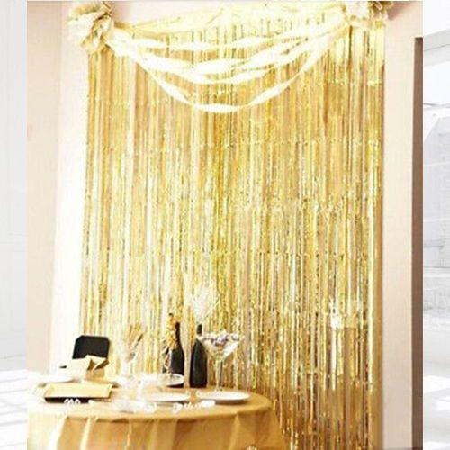 Gold altın sarısı ışıltılı püsküllü perde
